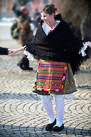 Traditional Hungarian Sokrac dancers in the main square  at the Busojaras Spring  festival 2010 Mohacs Hungary - Stock photos