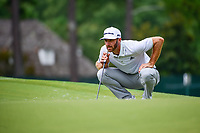 Dustin Johnson (USA) lines up his putt on 4 during Friday's round 2 of the PGA Championship at the Quail Hollow Club in Charlotte, North Carolina. 8/11/2017.<br /> Picture: Golffile | Ken Murray<br /> <br /> <br /> All photo usage must carry mandatory copyright credit (&copy; Golffile | Ken Murray)