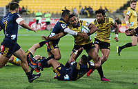 Ngani Laumape in action during the Super Rugby match between the Hurricanes and Highlanders at Westpac Stadium in Wellington, New Zealand on Saturday, 24 March 2018. Photo: Mike Moran / lintottphoto.co.nz