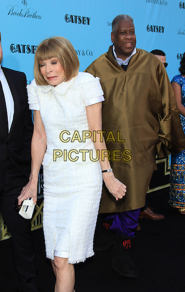 """Anna Wintour & Andre Leon Talley.The World Premiere of """"The Great Gatsby"""" held at Avery Fisher Hall - Lincoln Center, New York, NY., USA..May 1st, 2013.full half 3/4 length white dress funny.CAP/LNC/TOM.©LNC/Capital Pictures."""