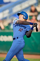 Niko Hulsizer (12) of the Ogden Raptors bats against the Grand Junction Rockies at Lindquist Field on June 25, 2018 in Ogden, Utah. The Raptors defeated the Rockies 5-3. (Stephen Smith/Four Seam Images)