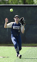NWA Democrat-Gazette/CHARLIE KAIJO Bentonville West High School MaryBeth Dyson (3) makes a catch during a softball game, Friday, May 10, 2019 at Tiger Athletic Complex at Bentonville High School in Bentonville. Bentonville West High School defeated Bryant High School 5-3
