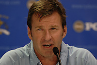 The 37th Ryder cup from Valhalla Golf Club in Louisville, Kentucky..European Team Captain Nick Faldo announcing the pairings for the thursday matches..Photo: Eoin Clarke/www.golffile.ie.
