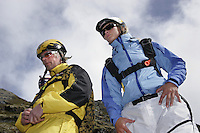 "BASE jumping from a cliff called ""Nebbet"" (the beak) is one of the moste extreme activities performed during Ekstremsportveko. Kariane Hollekim to the right..Ekstremsportveko, The Extremesport Week, is the worlds largest gathering of adrenalin junkies. In the small town of Voss enthusiasts in a varitety of  extreme sports come togheter every summer to compete and play.© Fredrik Naumann"