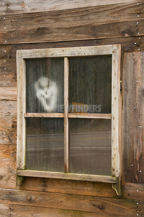 Scary mask in window