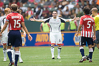 New England Revolution defender Jay Heaps (6) argues a call with the referee during a MLS match. The New England Revolution defeated the Chivas USA 2-1 at Home Depot Center Stadium, in Carson, Calif., on Surday, May 11, 2008.