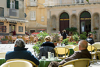 Italy, Calabria, beach resort Tropea: restaurant, cafe at old town