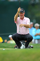 Jerry Kelly (USA) lines up his putt on the 1st green during Thursday's Round 1 of the 2014 PGA Championship held at the Valhalla Club, Louisville, Kentucky.: Picture Eoin Clarke, www.golffile.ie: 6th August 2014
