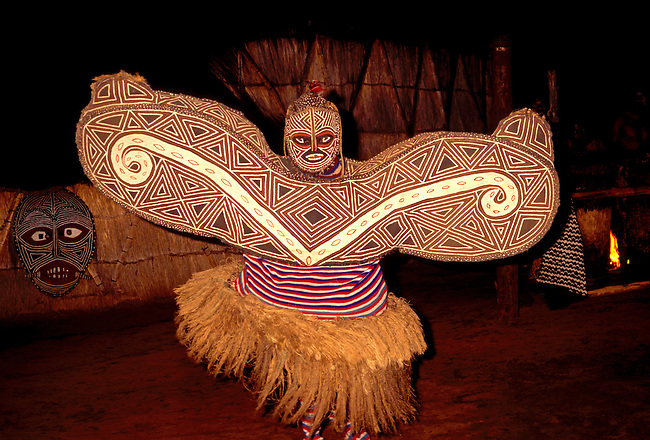 Tribesman performs dance, Zimbabwe, Africa