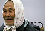 An old man smiles after hauling ashore seaweed in Omma, the Northern most tip of Honshu, Japan. Seaweed is used in a variety of miso soups. (Jim Bryant Photo)