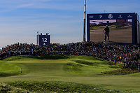 The 12th green during Saturday Foursomes at the Ryder Cup, Le Golf National, Ile-de-France, France. 29/09/2018.<br /> Picture Thos Caffrey / Golffile.ie<br /> <br /> All photo usage must carry mandatory copyright credit (© Golffile | Thos Caffrey)