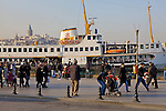 Ferry With Galata Tower In Background
