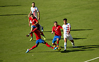 CARSON, CA - FEBRUARY 1: Keysher Fuller #4 and Cristopher Nunez #13 of Costa Rica battle with Brandon Servania #16 of USA during a game between Costa Rica and USMNT at Dignity Health Sports Park on February 1, 2020 in Carson, California.