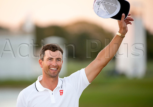 06.03.2016. Doral, Florida, USA. Adam Scott of Australia smiles after winning the final round of the World Golf Championships-Cadillac Championship on the TPC Blue Monster course at the Trump Doral Golf Club and Resort in Doral, FL.