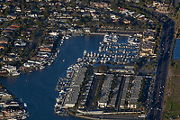 aerial photograph of Huntington Harbor Marina,  Sunset Beach, Orange County, California