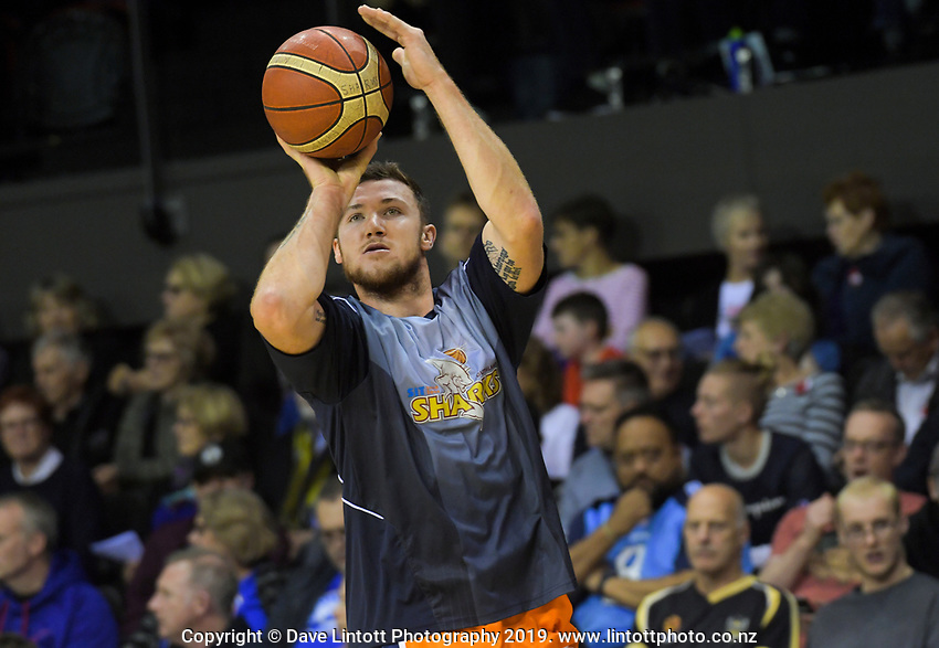 Tom Vodanovich (Sharks) in action during the National Basketball League match between Cigna Wellington Saints and Southland Sharks at TSB Bank Arena in Wellington, New Zealand on Thursday, 25 April 2019. Photo: Dave Lintott / lintottphoto.co.nz