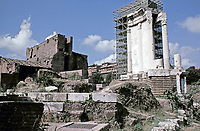 Temple of Vesta during renovations, Roman Forum, Rome, Italy