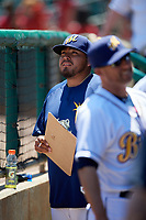 Montgomery Biscuits pitcher Mike Franco (34) in the dugout during a game against the Mississippi Braves on April 25, 2017 at Montgomery Riverwalk Stadium in Montgomery, Alabama.  Mississippi defeated Montgomery 3-2.  (Mike Janes/Four Seam Images)