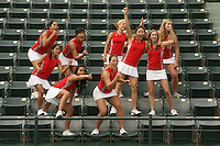 STANFORD, CA - NOVEMBER 11:  (Not in order) Hilary Barte, Jennifer Yen, Carolyn McVeigh, Veronica Li, Isamarie Perez, Lindsay Burdette, Logan Hansen, Jessica Nguyen, and Courtney Clayton of the Stanford Cardinal during picture day on November 11, 2008 at the Taube Family Tennis Stadium in Stanford, California.