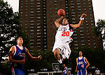 Chris Allen (20) soars to the basket for a dunk while Cole Alrdich (45) and Anthony Randolph (4) look on during the Elite 24 Hoops Classic game on September 1, 2006 held at Rucker Park in New York, New York.  The game brought together the top 24 high school basketball players in the country regardless of class or sneaker affiliation.