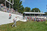 The crowd erupts with Jon Rahm (ESP) after he chipped in from off the green on 16 during 3rd round of the World Golf Championships - Bridgestone Invitational, at the Firestone Country Club, Akron, Ohio. 8/4/2018.<br /> Picture: Golffile | Ken Murray<br /> <br /> <br /> All photo usage must carry mandatory copyright credit (© Golffile | Ken Murray)