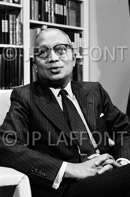 October 1970 --- United Nations Secretary General U Thant in his office in 1970. Thant was the third Secretary General of the United Nations between 1961 and 1971. --- Image by © JP Laffont