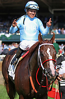 October 06, 2018 : #2 Bucchero and jockey Fernando De La Cruz win the 22nd running of The Woodford Presented by Keeneland Select (Grade 2) $200,000 for trainer Timothy Glyshaw and owner Ironhorse Racing Stables at Keeneland Race Course on October 06, 2018 in Lexington, KY.  Candice Chavez/ESW/CSM