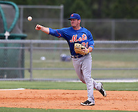 New York Mets infielder Tant Shepherd #20 during an extended Spring Training game against the Miami Marlins at the Roger Deam Complex on May 1, 2012 in Jupiter, Florida.  (Mike Janes/Four Seam Images)
