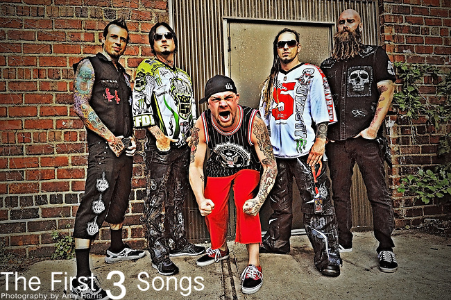 Jeremy Spencer, Jason Hook, Ivan Moody, Zoltan Bathory and Chris Kael of Five Finger Death Punch backstage during the Trespass America Festival at Jacobs Pavilion at Nautica in Cleveland, Ohio.