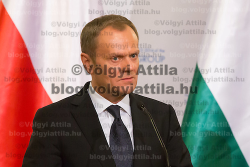 Donald Tusk Prime Minister of Poland talks during a press conference after the special meeting of the prime ministers of the Visegrad 4 Group in Budapest, Hungary on January 29, 2014. ATTILA VOLGYI