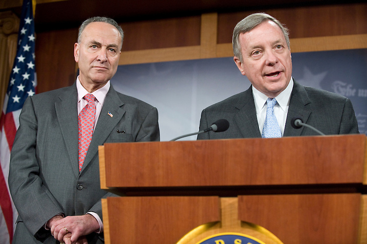 Sen. Richard Durbin, D-Ill., and Sen. Charles Schumer, D-N.Y., participate in a news conference in the Senate Radio-TV Gallery studio on Wall Street accountability on Thursday, April 22, 2010.