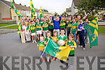 Streets paved with Green and Gold Robbie Molloy, Lisa O'Shea, Amy O'Shea, Daithi Smullen, Brid O'Shea and the  Residents of New Marian Park putting up bunting in support of the Kerry Teams for the All Ireland Final