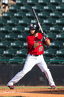 Carlos Arroyo (25) of the Hickory Crawdads at bat against the Savannah Sand Gnats at L.P. Frans Stadium on June 14, 2015 in Hickory, North Carolina.  The Crawdads defeated the Sand Gnats 8-1.  (Brian Westerholt/Four Seam Images)