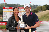 Gregory Bourdy (FRA), pictured with girlfriend Annabelle, is the winner of the 2013 ISPS Handa Wales Open from the Celtic Manor Resort, Newport, Wales. Picture:  David Lloyd / www.golffile.ie