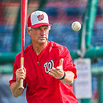 5 March 2016: Washington Nationals Bench Coach Chris Speier taps out grounders prior to a Spring Training pre-season game against the Detroit Tigers at Space Coast Stadium in Viera, Florida. The Nationals defeated the Tigers 8-4 in Grapefruit League play. Mandatory Credit: Ed Wolfstein Photo *** RAW (NEF) Image File Available ***