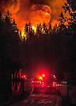 Rim Fire jumps Highway 120 near Hodgdon Meadows in Yosemite National Park slowing down firefighters during shift change.  Causing some traffic at the West Entrance to the park.  The fire reached 201,894 acres today.