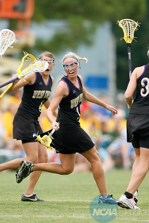 17 May 2008: West Chester Midfielder Courtney Whiting (10) celebrates with her teammates after scoring a goal during the 2008 NCAA Division II Women's Lacrosse Championship at the Division II National Championships Festival at Memorial Park in Houston, TX.  West Chester defeated C.W. Post 13-12 to take home the National Title.  Trevor Brown, Jr./NCAA Photos.