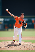 Baltimore Orioles pitcher Scott Burke (73) delivers a pitch during an Instructional League game against the Pittsburgh Pirates on September 27, 2017 at Ed Smith Stadium in Sarasota, Florida.  (Mike Janes/Four Seam Images)