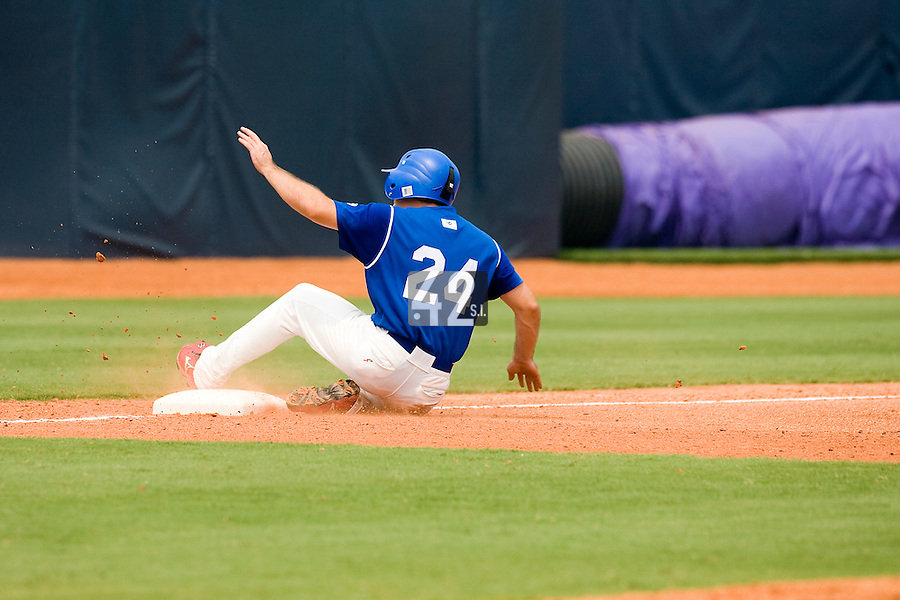 18 August 2007: Left Fielder #24 Gaspard Fessy slides to third base during the China 5-1 victory over France in the Good Luck Beijing International baseball tournament (olympic test event) at the Wukesong Baseball Field in Beijing, China.