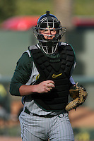 Brett Hambright #33 of the Oregon Ducks during a game against the UCLA Bruins at Jackie Robinson Stadium on April 6, 2012 in Los Angeles,California. Oregon defeated UCLA 8-3.(Larry Goren/Four Seam Images)