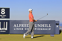 Tom Lewis (ENG) on the 8th tee during Round 1 of the 2015 Alfred Dunhill Links Championship at Kingsbarns in Scotland on 1/10/15.<br /> Picture: Thos Caffrey | Golffile