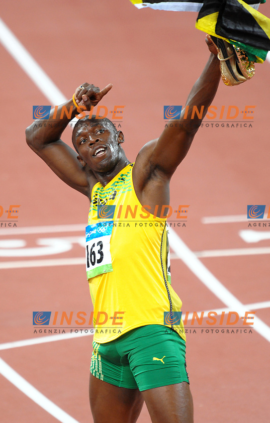 Usain Bolt of Jamaica celebrates after winning Men's 100m race with time of 9.69, new world record<br /> Esultanza di Usain Bolt dopo la vittoria nei 100 metri con il nuovo record del mondo<br /> National Stadium - Bird Nest<br /> Pechino - Beijing 16/8/2008 Olimpiadi 2008 Olympic Games<br /> Foto Andrea Staccioli Insidefoto