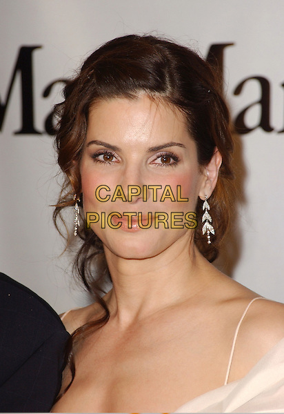 SANDRA BULLOCK.The Women in Film's 2005 Crystal & Lucy Awards; An Evening Celebrating Partnership held at The Beverly Hilton Hotel in Beverly Hills, California  .June 10th, 2005.headshot portrait dangling earrings.www.capitalpictures.com.sales@capitalpictures.com.Supplied By Capital PIctures