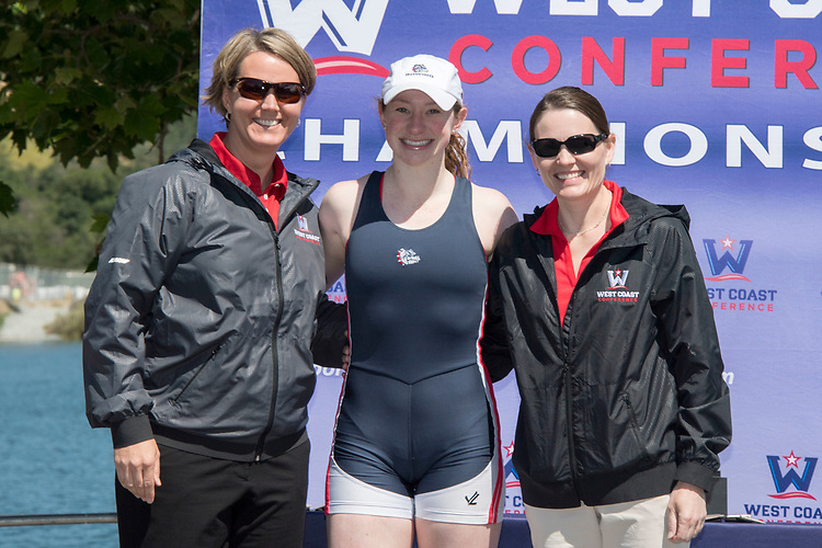 May 13, 2017; Gold River, CA, USA; WCC commissioner Lynn Holzman, WCC newcomer of the year Gonzaga Bulldogs Caroline Maguire, Gonzaga Bulldogs Peggy Sue Loroz during the WCC Rowing Championships at Lake Natoma.