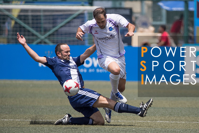HKFC Masters (in blue) vs Discovery Bay (in white) during their Masters Tournament match, part of the HKFC Citi Soccer Sevens 2017 on 27 May 2017 at the Hong Kong Football Club, Hong Kong, China. Photo by Chris Wong / Power Sport Images