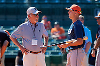 Detroit Tigers second baseman Kody Clemens (89) talks with Jim Leyland before a Grapefruit League Spring Training game against the Baltimore Orioles on March 3, 2019 at Ed Smith Stadium in Sarasota, Florida.  Baltimore defeated Detroit 7-5.  (Mike Janes/Four Seam Images)