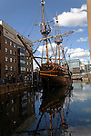 The Golden Hinde, replica of Sir Francis Drake's warship, St Mary Overie Dock, Southwark, London, England