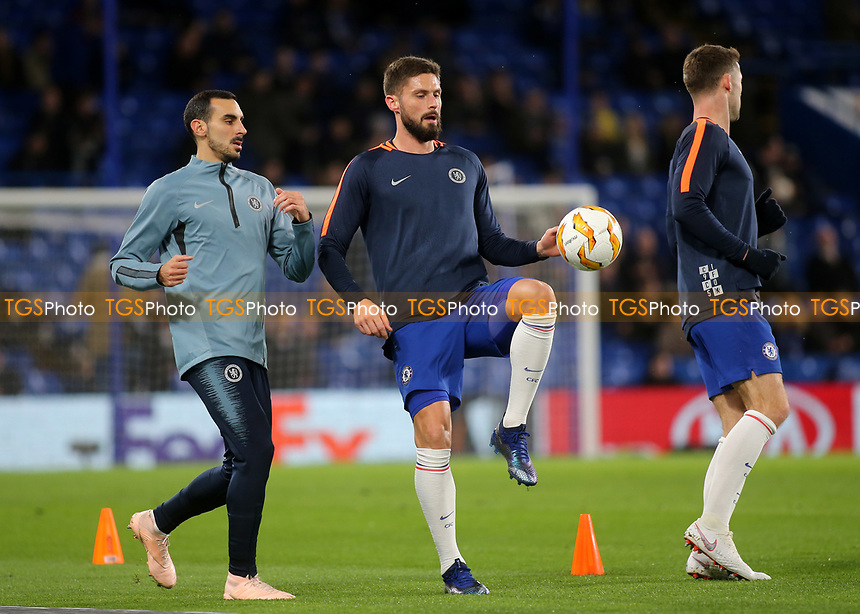 Olivier Giroud of Chelsea warms up ahead of kick-off during Chelsea vs PAOK Salonika, UEFA Europa League Football at Stamford Bridge on 29th November 2018
