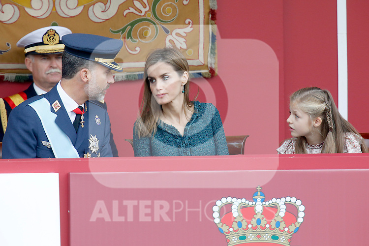 King Felipe VI of Spain, Queen Letizia of Spain and Princess Leonor of Spain attend Spain's National Day Military Parade. October 12 ,2014. (ALTERPHOTOS/Pool)