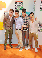 LOS ANGELES, CA - MARCH 31: Kendall Schmidt, Logan Henderson, James Maslow and Carlos Pena  arrive at the 2012 Nickelodeon Kids' Choice Awards at Galen Center on March 31, 2012 in Los Angeles, California.